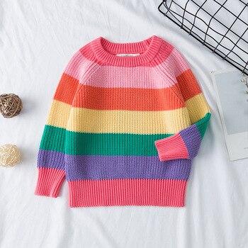 Moda niños niñas suéteres otoño invierno Niño bebé Arco Iris rayas de manga larga Kint suéter blusa para niños traje 1-7Y