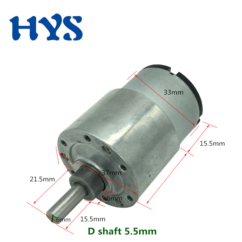 HYS DC 12V 24V Gear Motor Electric Metal 12 Volt Motors Reducer DC12V Reverse 7/12/35/66/107/200/600/960rpm Mini Motor JGB37-520