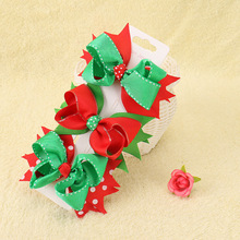 Christmas Stacked Hair Clips For Girls Solid Ribbon Bows Dot Print Two Layers Hairpin Festival Party Accessories