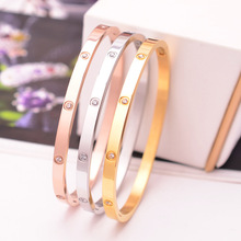bracelet rose gold titanium steel bracelet female Europe and the United States simple fashion Joker not fade bracelet цена 2017