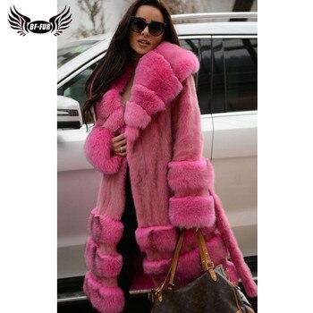 цена 2019 Fashion Natural Mink Fur Coats Women With Big Sliver Fox Fur Lapel Collar And Bottom Real Mink Fur Jackets Russian Winter онлайн в 2017 году