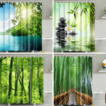 Drzewa leśne drukowane kurtyny kąpielowe 3d wodoodporna tkanina poliestrowa zmywalna łazienka zasłona prysznicowa z akcesoriami do haczyków tanie i dobre opinie shower curtain Europa Ekologiczne forest Poliester