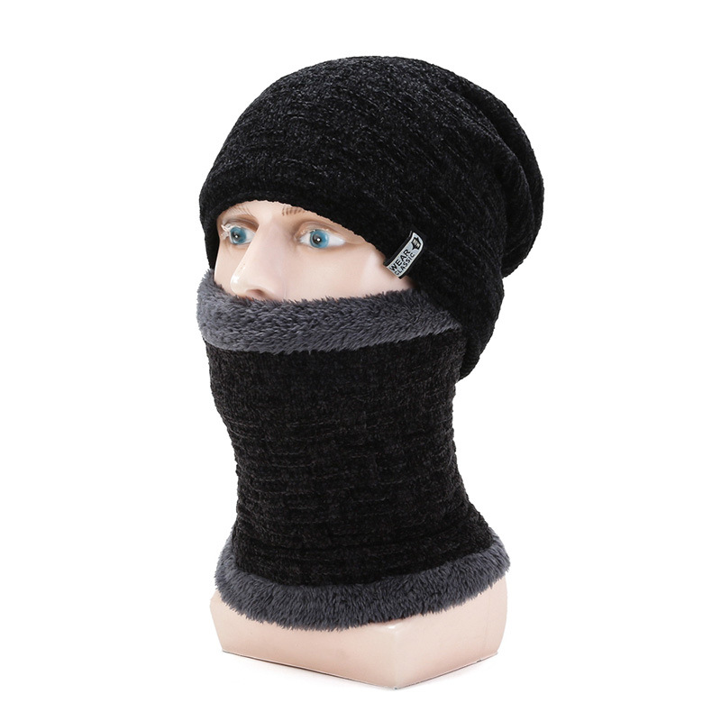 Kagenmo Lock Warm Male Winter Hat And Scarf Thick Fur Knit Cotton Double Yar Ear Neck Protection Twinset