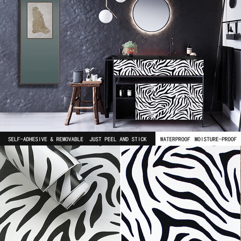 Peel Stick Wallpaper Decorative Contact Paper Black White Zebra Flowers 17 7 X393 Diy Self Adhesive Bedroom Drawer Wall Sticker Wallpapers Aliexpress