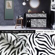 "Peel Stick Wallpaper Decorative Contact Paper Black White Zebra Flowers 17.7""x393""DIY Self Adhesive Bedroom Drawer Wall Sticker"