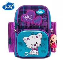 Russia Brand Delune School Bags For Girls Boys Cat Cartoon Mochila Infantil Children School Backpack For Girls Orthopedic Bag цена