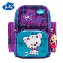 купить Russia Brand Delune School Bags For Girls Boys Cat Cartoon Mochila Infantil Children School Backpack For Girls Orthopedic Bag дешево