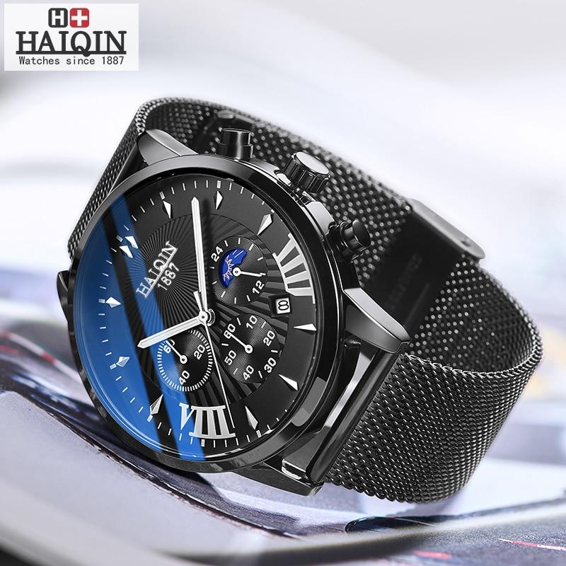 HAIQIN Quartz Men Watch Top Brand Luxury Watches Men's Black Mesh Belt Sport Wristwatch Male Mliltary Reloj Hombres Fashion 2019