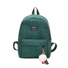 Corduroy Women Pure Color Striped Backpack Fashion Student School Bag Laptop Bagpack Teenager Girls Big Capacity Travel Rucksack(China)