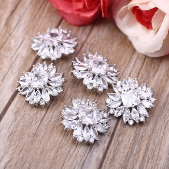 5Pcs 18mm Flower Alloy Rhinestone Button with Loop Faux Crystal Metal Embellishments DIY Jewelry Crafts Wedding Decor