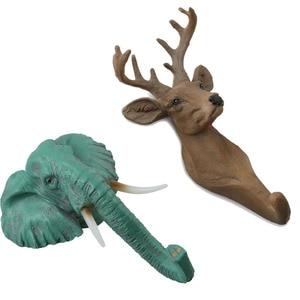 Hayvan kafası duvar kanca askıları figürleri ev dekor kapı asılı ceket kancaları reçine geyik gergedan fil zürafa at hediye