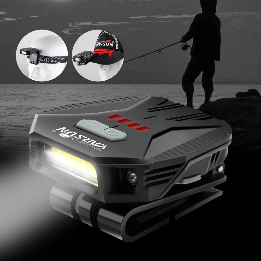 COB LED Induction Cap Clip Light Flashlight Waterproof Outdoor Fishing Headlamps
