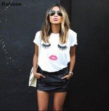 New 2016 women harajuku summer  Eyelashes sexy red lips kiss t shirt loose tee camisetas mujer woman clothes poleras de muje