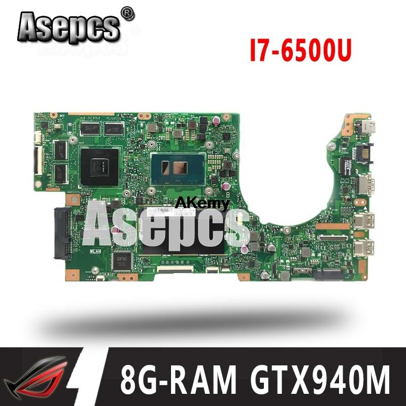Asepcs K501UW scheda madre Del Computer Portatile para ASUS K501UW K501UX K501UB K501U K501 Teste mainboard originale DDR3-8G-RAM I7-6500U GTX940M