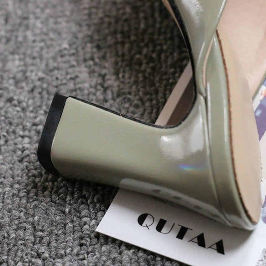 QUTAA 2020 sivri burun moda Slingback sandalet PU deri yaz bayanlar pompaları kare yüksek topuk kayma kadın ayakkabı boyutu 34-43