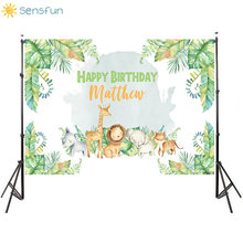 Sensfun 7x5ft Jungle Safari Backdrops Kids First Birthday Party Photography Backdrops Animals Baby Shower Photo Background Vinyl