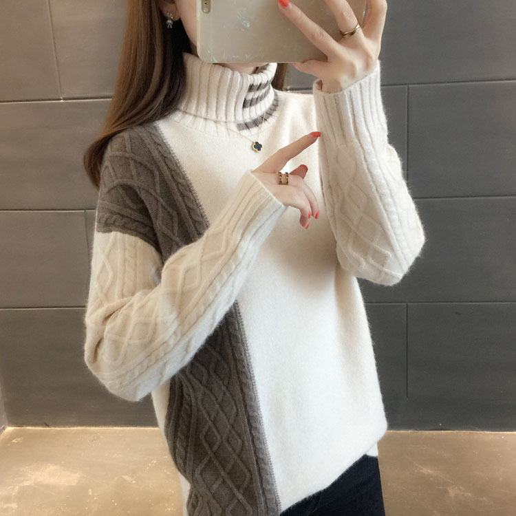 Turtleneck Knitted Women Sweater Gray Color Casual Pullovers 2020 Autumn Winter Female