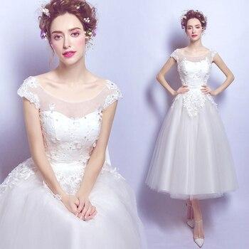 2020 New Short Wedding Dress O-neck Ball Gown Wedding Gown 403