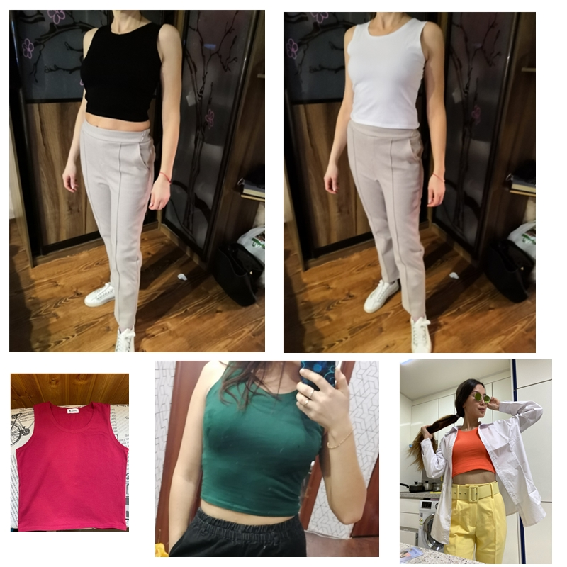 Fashion Sexy Women Round Neck Pure Color Patchwork Crop Tops Sleeveless Camisole Tank Tops Casual Summer Ladies Slim Vest
