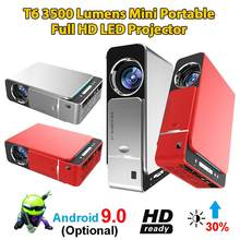 T6 Portable Full HD LED Projector 4K 3500 Lumens 1080P Home Cinema Beamer Android 9.0 WIFI Same Screen Version Video Projector(China)
