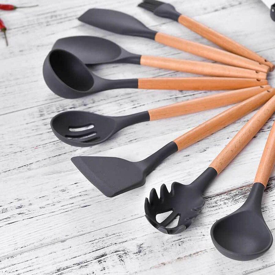cozinha de silicone punho de madeira utensílios