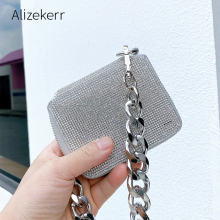 Thick Metal Chain Rhinestones Crossbody Bags Women 2020 New