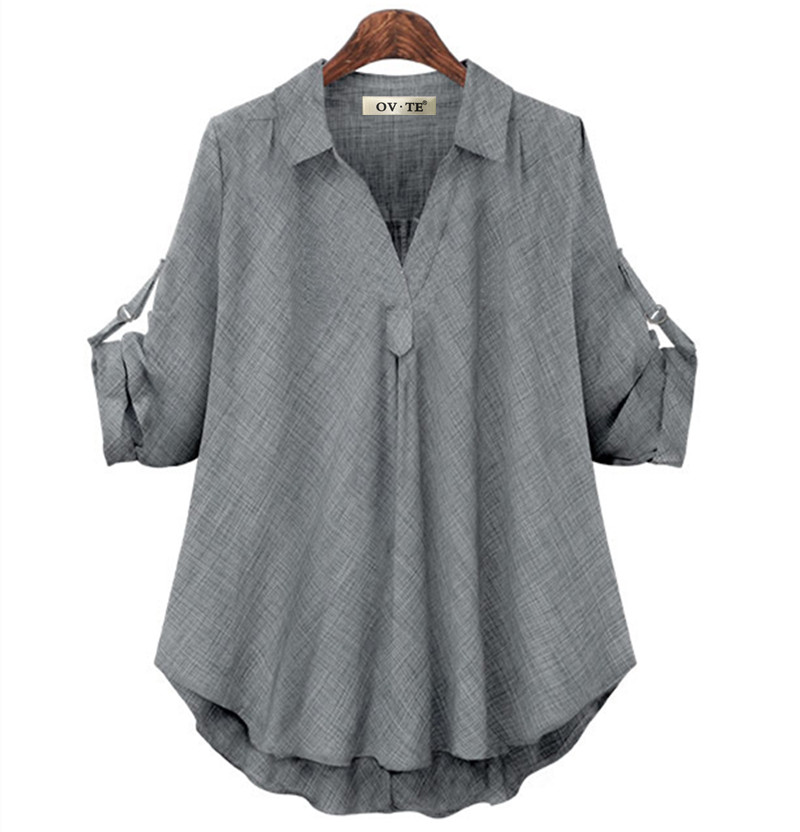 Женские рубашки размера плюс 4XL, Европейский стиль, женские рубашки, весна-лето, свободная блузка с длинным рукавом, топы, брендовая офисная одежда для женщин, Новинка
