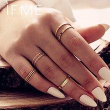 WENN MIR Vintage 10 Teile/satz Gold Ringe Set für Frauen Einfache Boho Geometrische Runde Kreis Finger Knuckle Ring Mode Schmuck 2020 neue