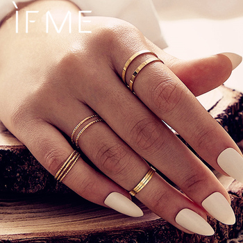 IF ME Vintage 10Pcs/set Gold Rings Set for Women Simple Boho Geometric Round Circle Finger Knuckle Ring Fashion Jewelry 2020 New