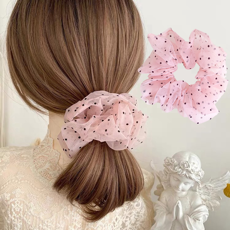 Organza Small Dot Hairties Hair Rubber Bands For Women Girls Lady Scrunchie Elastic Lace Hairbands Headwear Ponytail Holder