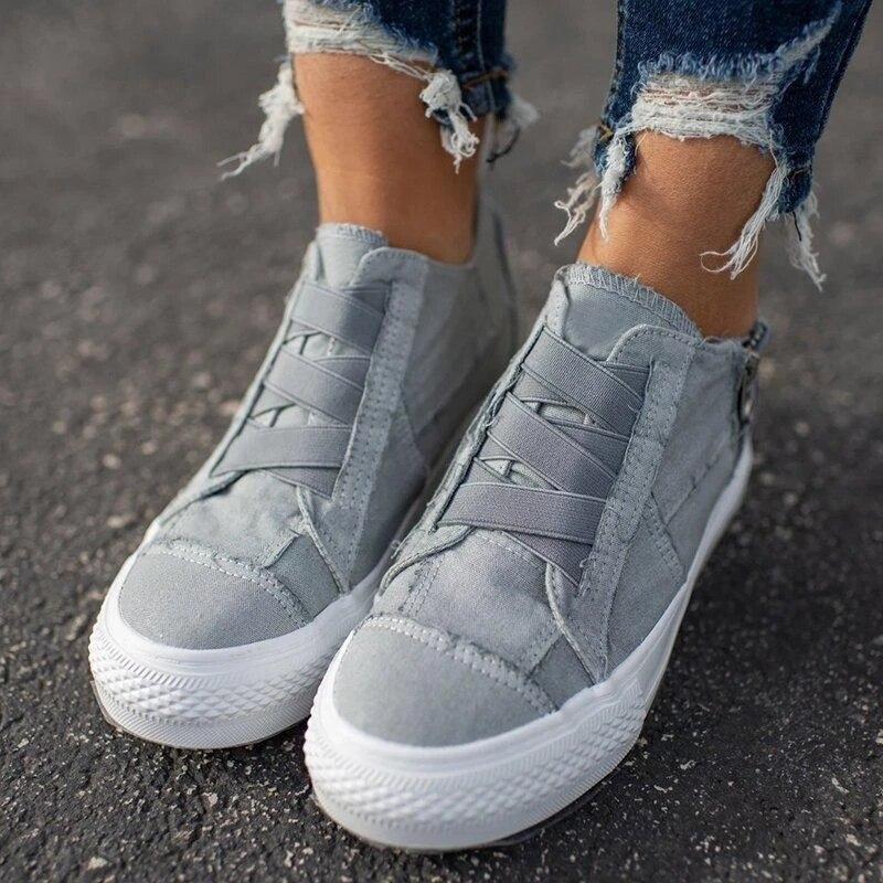 Women Flat Shoes Spring Autumn Women  Vulcanize Shoes Sneaker Ankle Side Zipper High Top Canvas Shoes Ladies Shoes