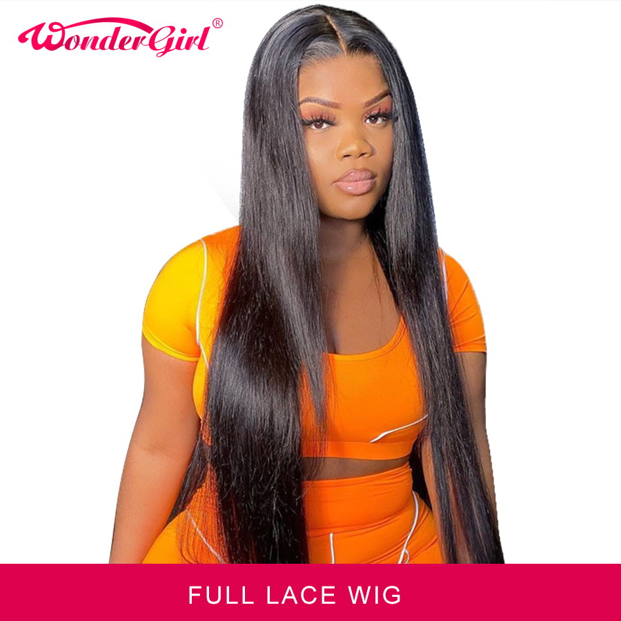 Wonder girl Pre Plucked Full Lace Human Hair Wigs For Black Women  Remy Brazilian Straight Lace Front Wig With Baby Hair