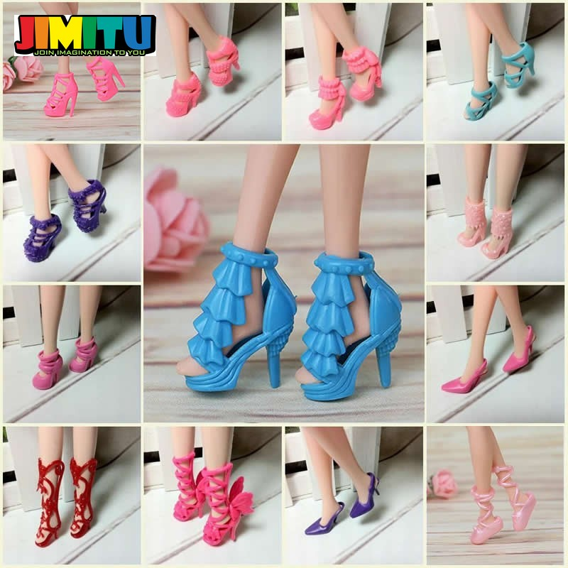 80pcs Mixed Different High Heel Shoes Boots for  Doll Dresses Clothes TO