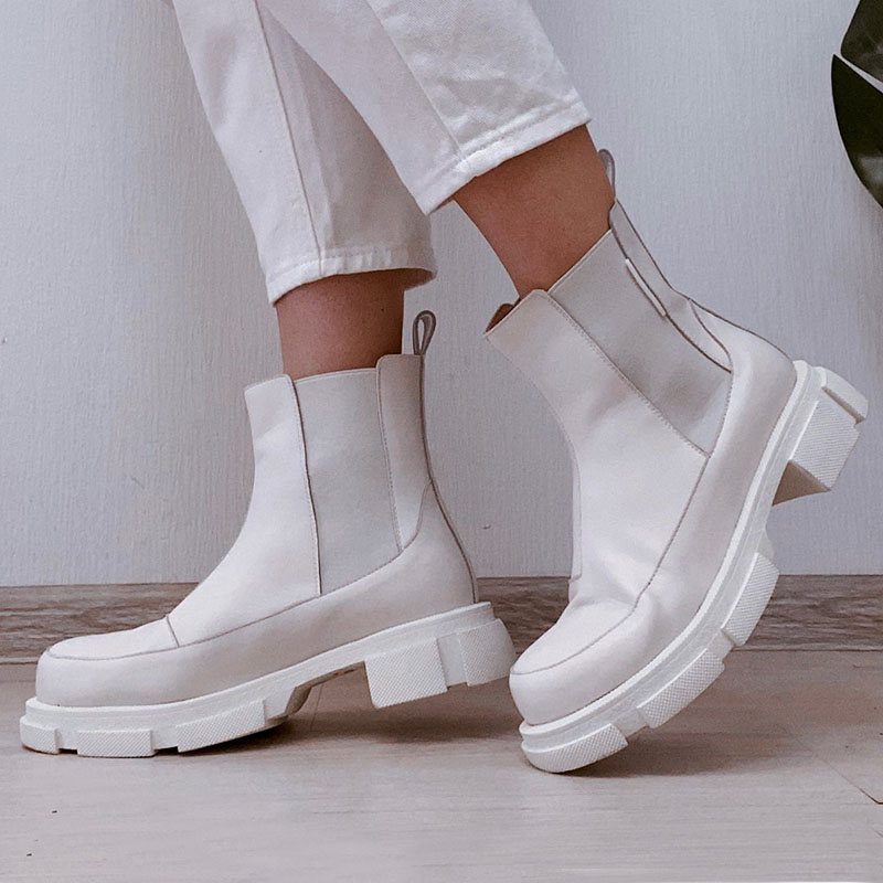 RIZABINA Ins Real Leather Women Ankle Boots Fashion Platform Warm Fur High Heel Winter Shoes Woman Casual Footwear Size 35 42