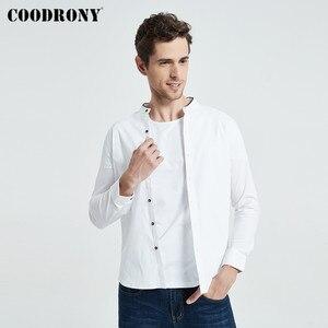 Image 2 - Coodrony camisa masculina de manga curta, estilo chinês, mandarin, com gola, de algodão, legal, para o verão, casual, s96017