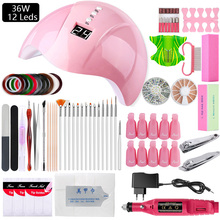 Manicure Set 36W Nail UV LED Lamp Dryer Nail Set Gel Polish Soak Off Pedicure Electric Nail Drill Machine File Nail Art Tool Kit gel polish nail art tools kits 36w uv led nail dryer lamps uv gel polish polish gel manicure machine set nail file remover tools