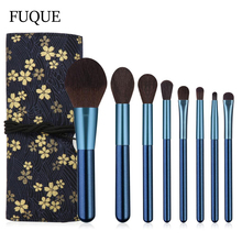 Makeup-Brushes-Set Cosmeitic-Tool-Kit Professional Beauty 8pcs with Bag Sky-Blue-Handle