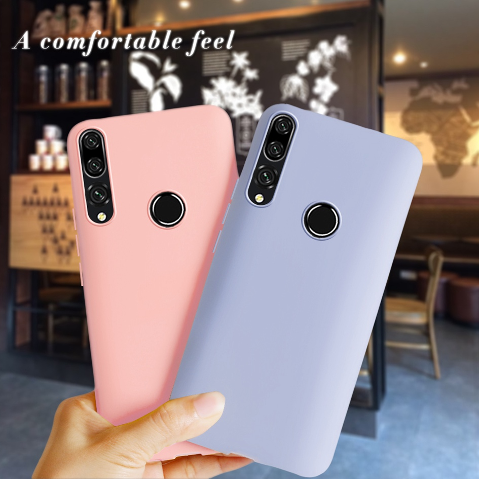 Liquid Silicone <font><b>Case</b></font> For <font><b>Huawei</b></font> P10 P30 P20 Pro Mate 20 30 Lite Y5 Y6 Y7 Pro Y9 <font><b>Prime</b></font> 2019 <font><b>Y</b></font> 5 <font><b>6</b></font> <font><b>2018</b></font> Candy Color Slim Cover Bag image