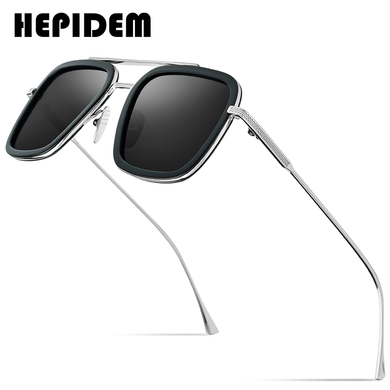 HEPIDEM Acetate Pure Titanium Polarized Sunglass Men Retro Tony Stark Sunglasses Vintage Edith Sun Glasses for Women 9119