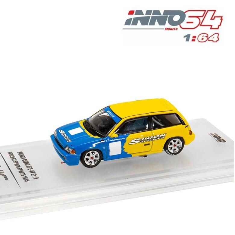 INNO64 1:64 Honda Civic Si E-AT Spoon 1985 No Number Racing Diecast Model Car