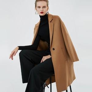 Image 3 - Bequeme Lange Herbst Winter Mantel Frauen Wolle mischungen Mantel Mode Schlank Braun/Beige Farbe Kaschmir Mädchen Woolen Stoff Mäntel