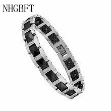 NHGBFT Black Ceramic Strength Magnetic Bracelet For Men Womens  Stainless Steel Healthy energy Bracelets With CZ Jewelry