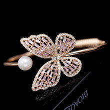 High Quality Gold Color Hollow  Pink Zircon Butterfly Cuff Bangle With Pearl Bracelets For Women цена