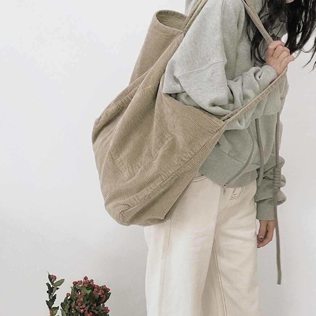 Women Ladies Simple Corduroy Shoulder Bag Fashion Casual Canvas Bag Large Capacity Tote Bag