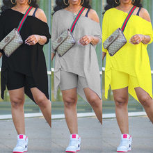 ChocoMist Two-piece Casual Solid Off Shoulder Irregular Design Two-piece Shorts Set VK2012
