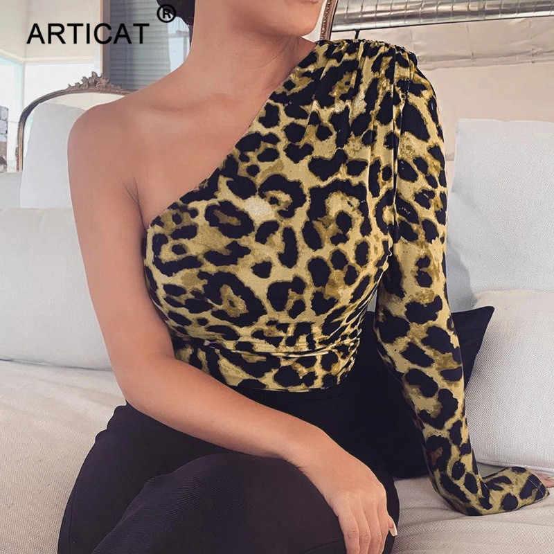Articat ليوبارد طباعة كتف واحد مثير ارتداءها النساء الخريف بلوزات طويلة الأكمام نحيل ثوب فضفاض للمرأة بذلة عادية بدلة للجسم