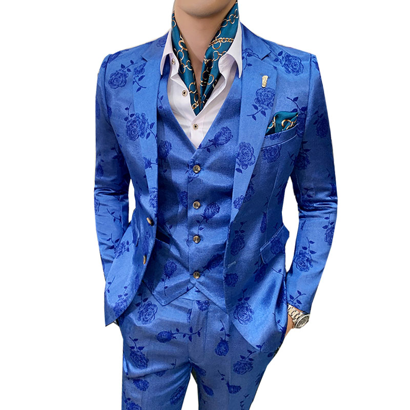 Embroidered Rose Printed Wedding Dress Suits Men 2019 Korean Blue Slim Fit Two-buttons Appointment Party Marriage 3 Pieces Suits