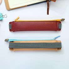 Портативный Модный чехол-карандаш из искусственной кожи с эластичной пряжкой, сумка-карандаш для книг и ноутбуков, офисные школьные принадлежности, канцелярские принадлежности