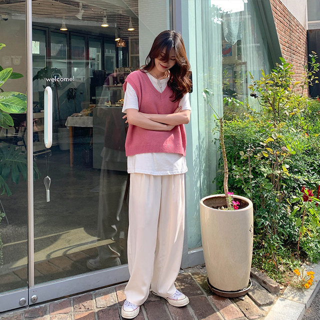 4colors 2019 autumn and winter korean style v neck knitted solid color sleeveless vest sweaters womens pullovers womens (X1086) 8