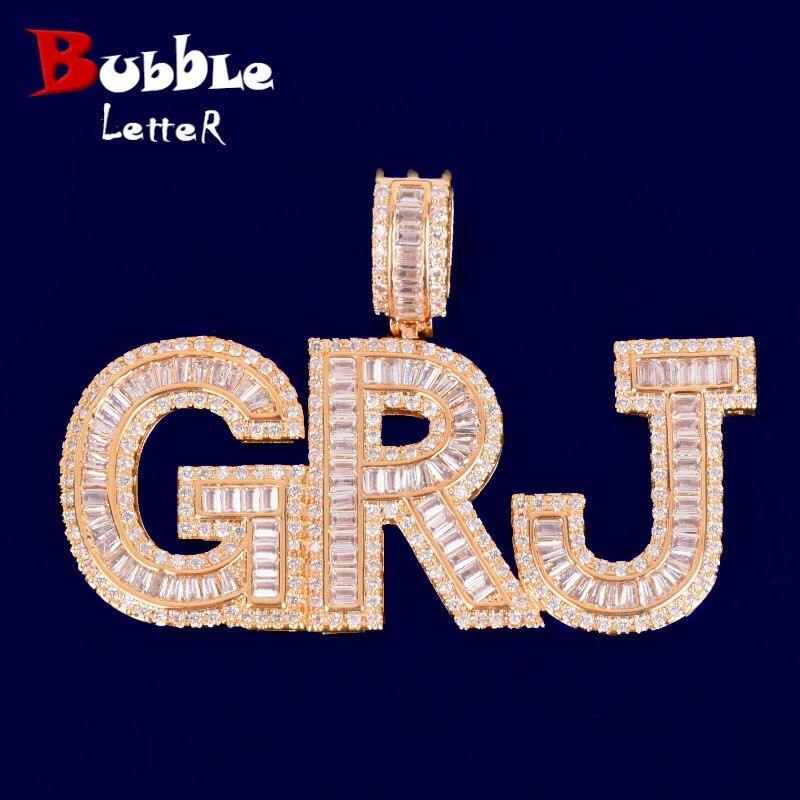 Necklace-Chain Jewelry Pendant Letters Custom Name Gold-Color Zircon Men's Hip-Hop Rock